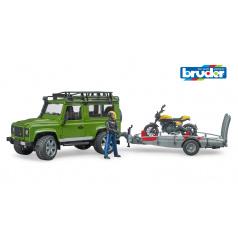Bruder Volný čas - Land Rover Defender s vlekem a motorkou a řidičem