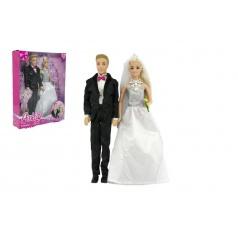 Teddies Panenka 2ks nevěsta a ženich plast 30cm v krabici 25x33x7cm