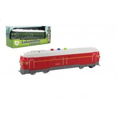 Teddies Lokomotíva / Vlak plast 23cm 2 farby na batérie so zvukom so svetlom v krabičke 27x11x8cm