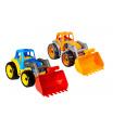 Teddies Traktor/nakladač/bagr se lžící plast na volný chod 2 barvy 17x37x17cm 12m+