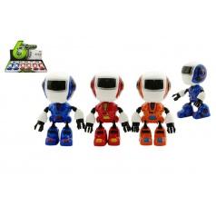 Teddies Robot hýbající se kov/plast 11cm na baterie se světlem a zvukem asst 3 barvy