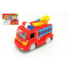 Auto hasiči plast 20cm narážecí na baterie se zvukem se světlem v krabici