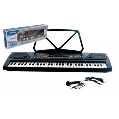 Teddies Pianko velké plast 61 kláves 63x20cm s mikrofonem a USB na nabíjecí baterie Li-ion v krabici 66x22cm