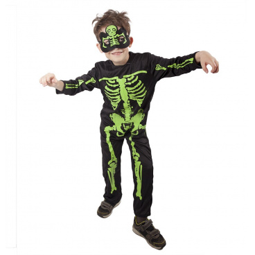 RAPPA hračky Rappa Dětský karnevalový kostým - Kostlivec neon s maskou zelený vel. M