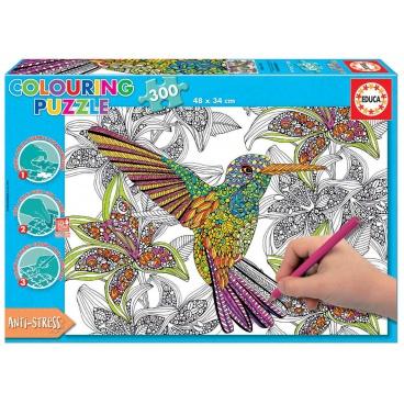 EDUCA 17083 Vybarvovací puzzle 300 dílků - kolibřík