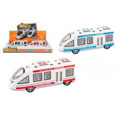 Teddies Metro / vlak / električka plast 21cm na batérie so svetlom so zvukom 2 farby na zotrvačník 6ks v box