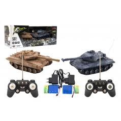Teddies Tank RC 2ks 25cm tanková bitva+dobíjecí pack 27MHZ a 40MHz se zvukem se světlem v krabici 50x20x23cm