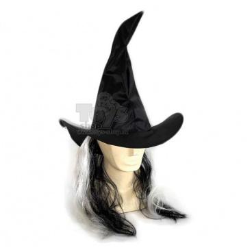 Karnevalový klobouk s vlasy čarodějnický dospělý