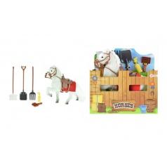 Kůň s doplňky bílý plast 15cm v krabičce