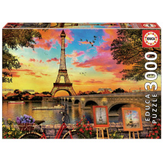 EDUCA 17675 Puzzle 3000 dílků - Západ slunce v Paříži