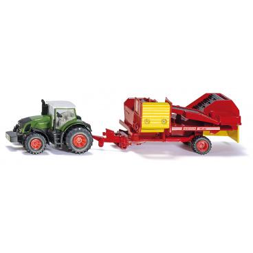 SIKU Farmer - Traktor s vlekem na sklizeň brambor 1:87