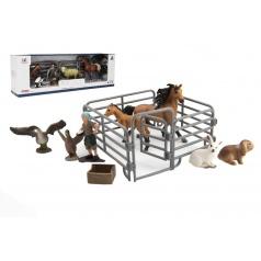 Teddies Sada farma plast zvířátka s doplňky 4 druhy v krabičce 43x14x10cm
