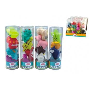 teddies Stříkací figurky zvířátka/dopravní prostředky do vany 4ks gumová