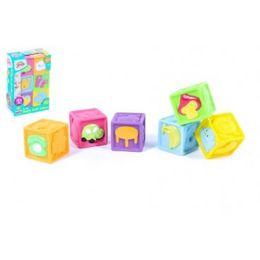 Teddies Dětské pískací kostky gumové 6ks v krabici 16x23x6cm 6m+