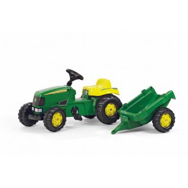 ROLLYTOYS Šlapací traktor Rolly Kid J.Deere s vlečkou - zelený