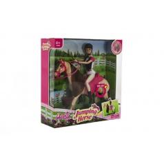 Kůň hýbající se + panenka žokejka plast v krabici 35x36x11cm