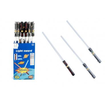 Teddies Meč svítící plast 72cm na baterie měnící zvuk dle pohybu se světlem asst 3 barvy