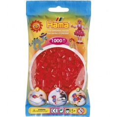 HAMA Průhledné červené korálky - 1000ks MIDI