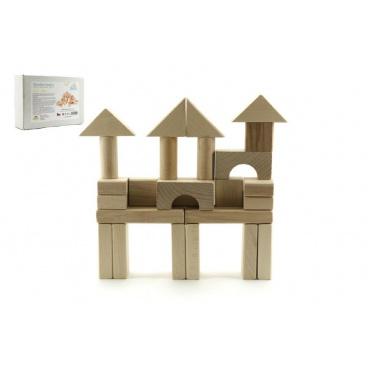 Kostky dřevěné přírodní 50ks v krabičce 1+