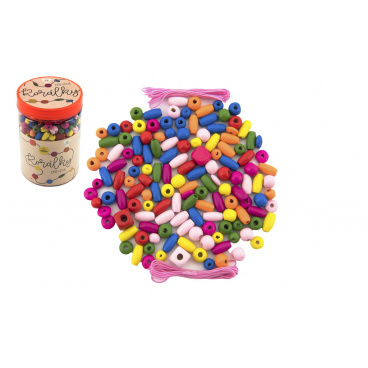 Teddies Korálky dřevěné barevné s gumičkami cca 90 ks v plastové dóze 9x13,5cm