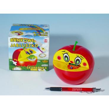 Teddies Pokladnička jablko plast 16x10cm asst 2 barvy