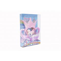 Teddies Súprava krásy princezná čelenka s príčeskom + sponka do vlasov plast v krabičke 17,5x25x4cm