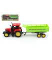 Teddies Traktor s vlekem plast 35cm na setrvačník v krabici