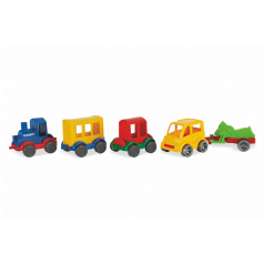 WADER Play Tracks - vlak s kolejemi plast 4ks autíček,délka dráhy 6,4m s doplňky v krabici 80x53x14cm 12m+