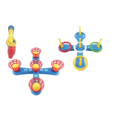 Teddies Házecí hra plast kříž s kruhy + košíčky s míčky v síťce