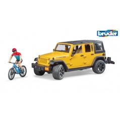 Bruder Volný čas - Jeep Wrangler Rubicon Unlimited s horským kolem a cyklistou