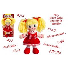 Teddies Bábika Lucka handrová plyš 30 cm slovenský spievajúci na karte 0+