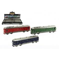 Vlak/Lokomotiva plast 23cm na setrvačník na baterie se zvukem se světlem asst 3 barvy
