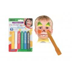 Farby tvárovej v ceruzke 6ks na karte 14x20cm karneval