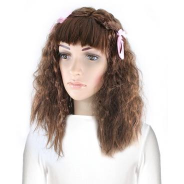 Karnevalová paruka dlouhé vlasy s mašlemi, pro dospělé
