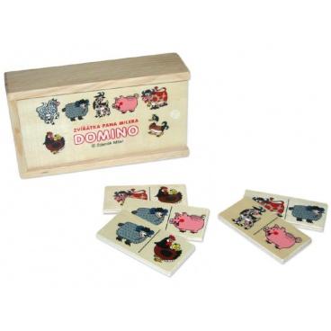 Wiky Domino zvířátka pana Müllera společenská hra dřevo 28ks v dřevěné krabičce 16x9x4cm