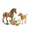Schleich 42432 set hříbě a Quarter kůň se štěňátkem a doplňky