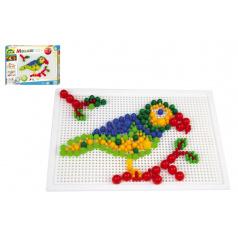 lena Mozaika sada plast barevná 400ks kloboučky+kolíčky v krabici 32x24x3,5cm