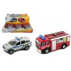 Záchranářské auto policie/hasiči kov 11cm na zpětný chod na baterie se světlem a zvukem