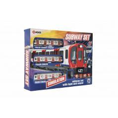 Teddies Metro / vlak / električka plast s koľajami na batérie so svetlom so zvukom v krabici 40,5x30x7cm
