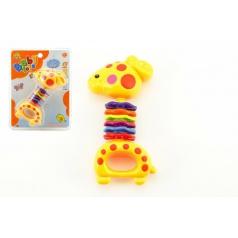 Teddies Chrastítko žirafa plast 15cm na kartě 3m+