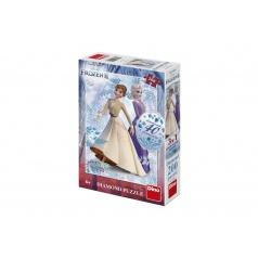 Dino Puzzle 3v1 Ledové království II/Frozen II 200 dílků s diamanty s lepidlem v krabici 20x29,5x6cm