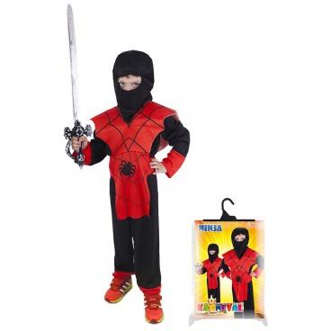 Rappa Dětský kostým červený ninja (S)
