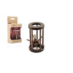 Teddies Hlavolam ježko v klietke kovový hnedý 4,5x7,5cm v krabičke 7,5x16x5cm