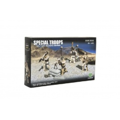 Teddies Stavebnice vojáci plast Pouštní jednotka 4ks s doplňky v krabici 25x15x5cm