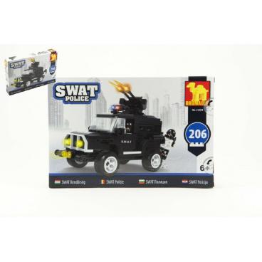 Dromader Stavebnice Dromader SWAT Policie Auto 206ks v krabici 32x21,5x5cm