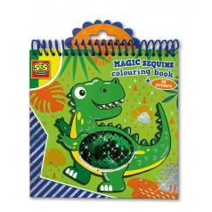 SES Magické Dino maľovanky s flitrami modré/zelené