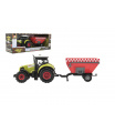 Teddies Traktor s vlekem plast 28cm na setrvačník na baterie se zvukem se světlem v krabici 34x13x11cm