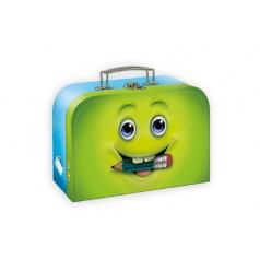 Šitý kufr/kufřík obličej modrozelený 35x23cm
