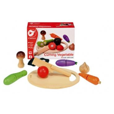 Teddies Zelenina krájecí s prkénkem dřevo 16ks 21,5x15x7cm v krabici 24m+