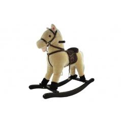 Teddies Kôň hojdacia béžový plyš nosnosť 50kg v krabici 62x56x19cm